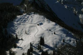 Malga mit schnee